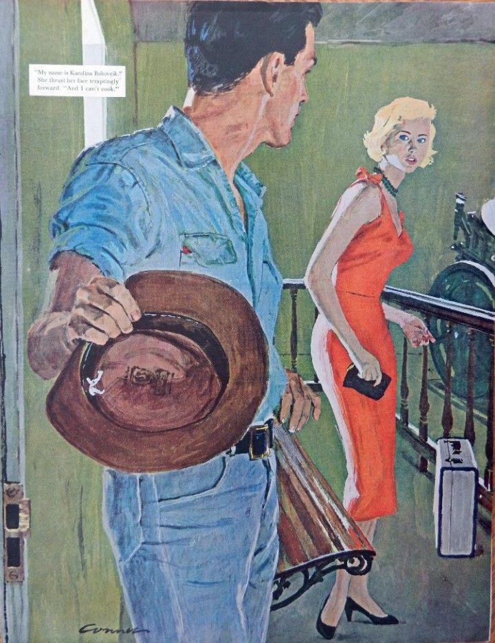 Mac Conner  50 s Color Illustration  Print art  man and woman  suitcase 1958 Post Magazine Art