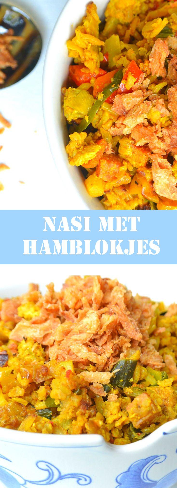 Nasi met hamblokjes