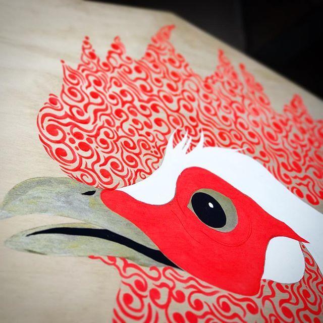 土生神社奉納 大絵馬  大急ぎで制作中!! 今回で7度目の奉納になります。 宮司さま今しばらくお待ちを!!traditional culture of Japan. illustration by #六覺千手 #follow #instaart #art #artwork #artgallery #illustration #instagramjapan #graphic  #japaneseartist #contemporaryart #日本 #大阪 #芸術 #アート #イラスト #絵馬 #酉 #2017 #平成29年 #土生神社