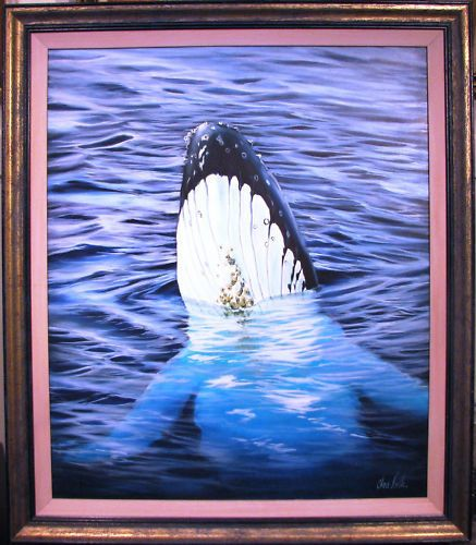 Chris Postle original acrylic titled  Whale Rising . Australia