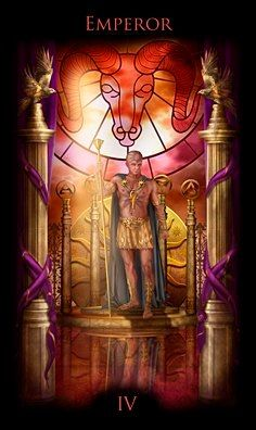The Emperor from Legacy of the Divine Tarot - his tie to Aries very prominently indicated in this deck. menageatarot.com