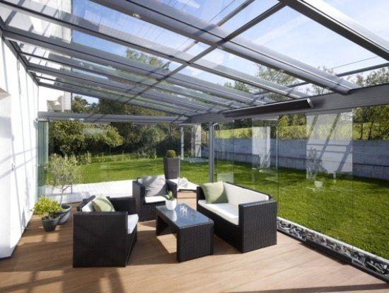 Portes coulissantes pour la terrasse en verre