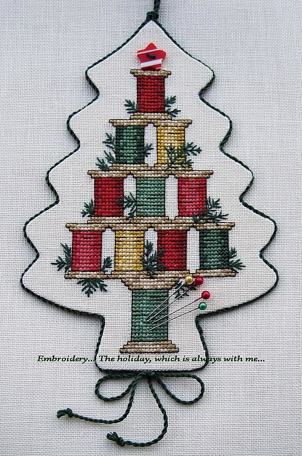 """Embroidery ... The holiday, which is always with me ...: Suspension """"Christmas Spool Tree"""""""