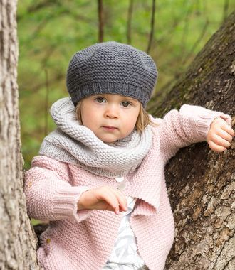 Lottie cardigan, beret and cowl set by Carrie Bostick-Hoge (garter stitch)