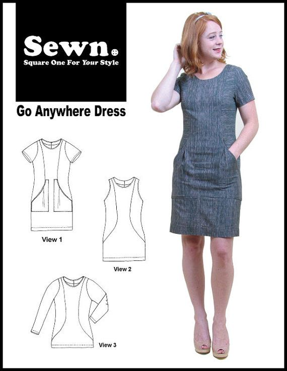 Go Anywhere dress by SEWN. Fitted women\'s sheath dress. Sizes 0-20 ...