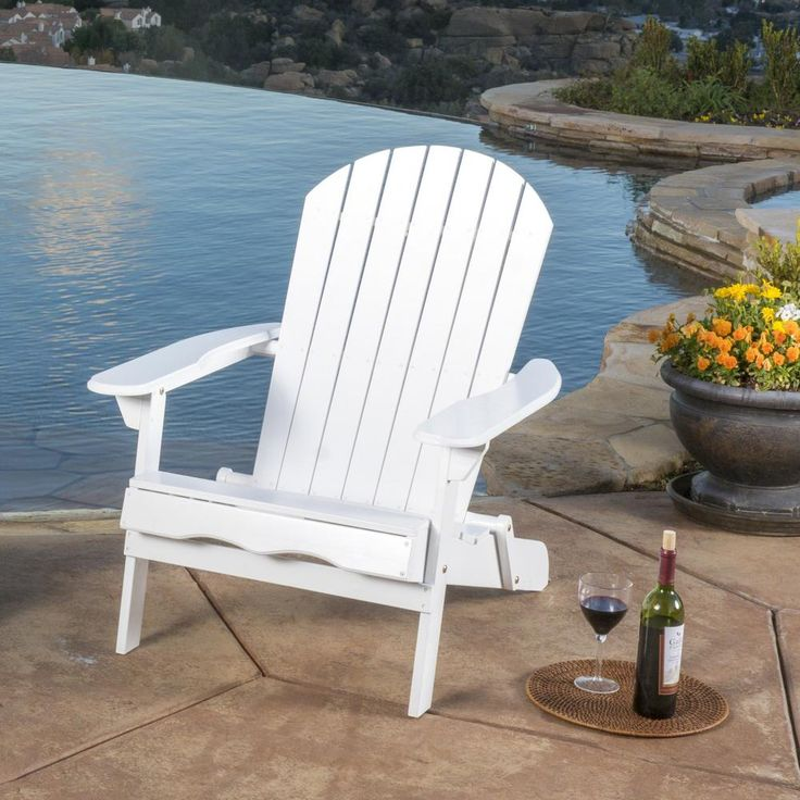 Noble house hanlee white folding wood adirondack chair