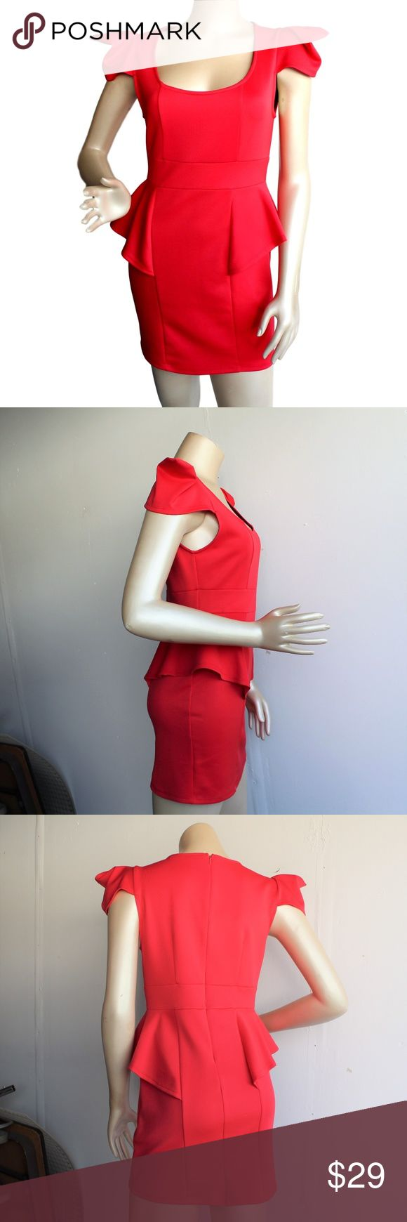 The Vintage Shop Red Peplum Dress Zips up the back. Unique shoulders. Peplum waist. 85% polyester/15% spandex. Made in USA. Runs small so I believe is it juniors sizing. 17 inches across bust, 15 inches across waist, 17.5 inches across hips, 17 inches across bottom, 30 inches long. The Vintage Shop Dresses Mini