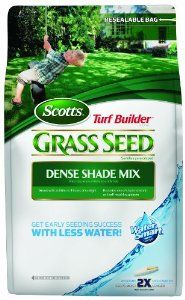 Scotts 18148 Turf Builder Dense Shade Grass Seed Mix Bag, 3-Pound (Not for sale in Louisiana) by Scotts. Save 14 Off!. $19.79. Exclusive mix of shade tolerant and self repairing grasses. Seeds up to 750 sq ft. Get early seeding success with less water. Absorbs 2x more water than uncoated seed. Grows with as little as 3 hours of sunlight. Scotts Turf Builder Dense Shade Grass Seed Mix helps you get early seeding success with less water.  It absorbs 2x more water than uncoated seed....