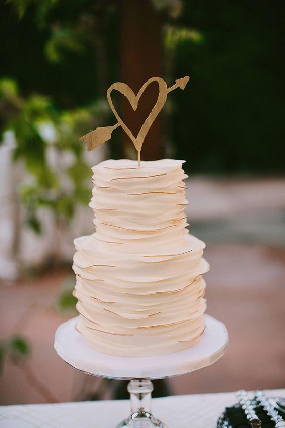 heart shape wedding cake topper in gold