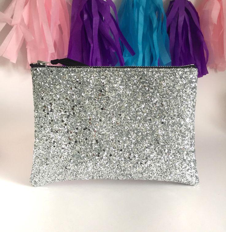 Silver Glitter Bag, Glitter Clutch Bag, Silver Purse, Coin Purse, Glitter Wallet, Bridesmaid Gift, Bridal Clutch Bag, Oyster Card Holder by kaykayteeUK on Etsy