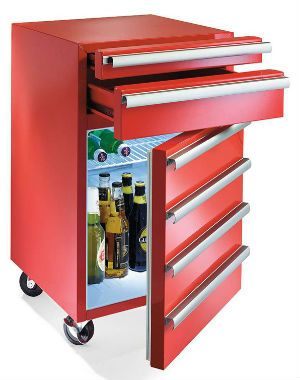 Tool Box Refridgerator. Perfect for the man cave. his fridge combines the convenience of three working tool drawers with a built in refrigerator. Available in traditional red or blue color that matches most garage and work area settings.