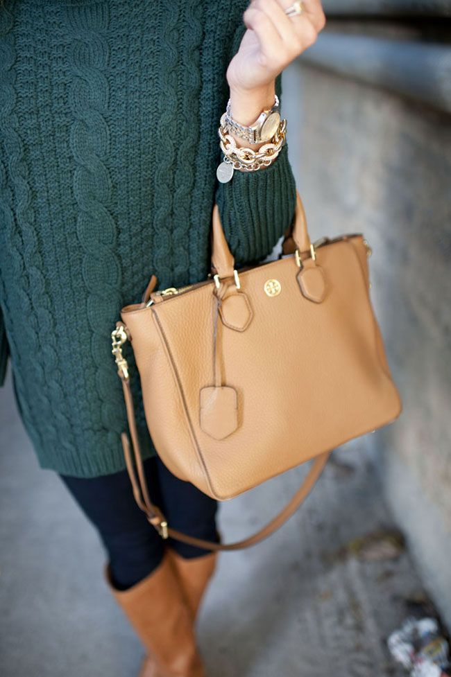 Cozy Turtleneck Weather with Jeans Tory Burch Bag and Riding Boots