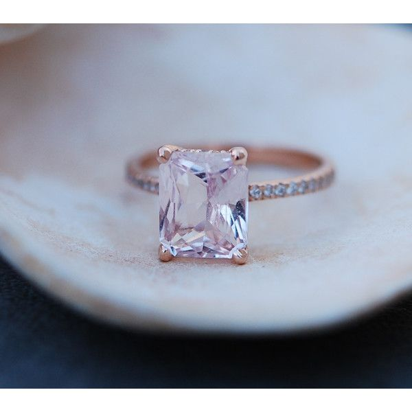 Blake Lively ring Peach Sapphire Engagement Ring emerald cut 14k rose…
