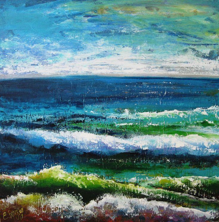 Seascape wall art. Acrylic painting on canvas. Abstract canvas art ...