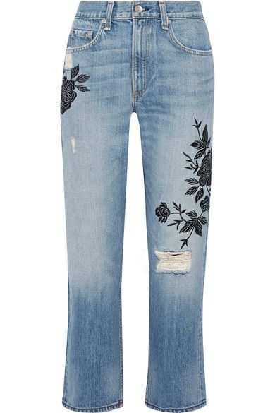 rag & bone - Marilyn Embroidered Distressed Mid-rise Straight-leg Jeans - Blue