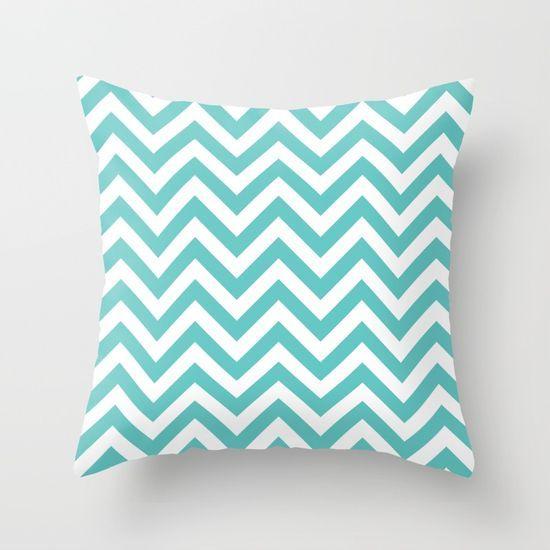 Turquoise Chevrons Throw Pillow