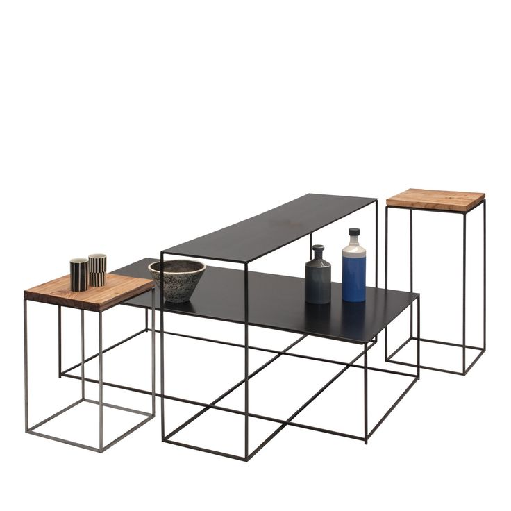Two Delightful Small End Tables And Two Longer Side Tables With Slender  Metal Structure And Black
