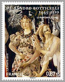 Sandro Botticelli 1445-1510 Zéphyr et Flore Le printemps - Timbre de 2010