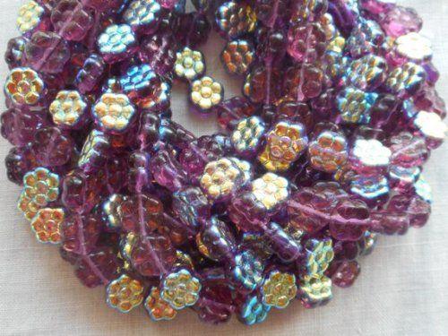 50 Amethyst AB Czech Glass Flower Beads 8MM