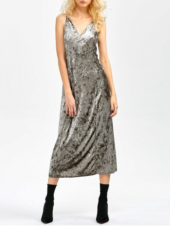 Velvet Slit Midi Dress - GRAY L