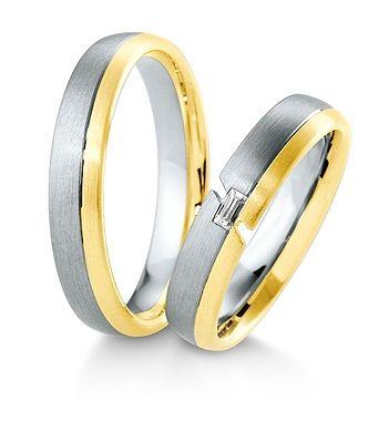 Breuning Trouwringen | Inspiration collectie gouden ringen | 4,5mm briljant baguette 0.06ct verkrijgbaar in 8,14 en 18 karaat | 48041410 / 48041420 OOK in wit geel en rood goud verkrijgbaar of in 2 kleuren goud #trouwringen #breuning