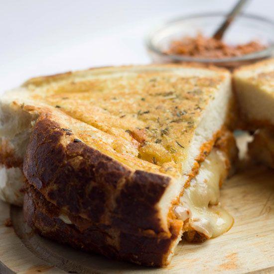 caramelized onions pesto and grilled mozzarella sandwich via naturally ...