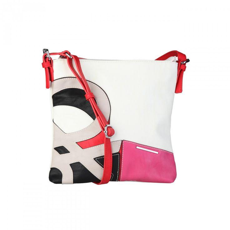 Törtfehér/fuxia/fekete színű, Benetton logós, szintetikus anyagú, női kersztpántos táska, mérete: 26X5,5X28 cm