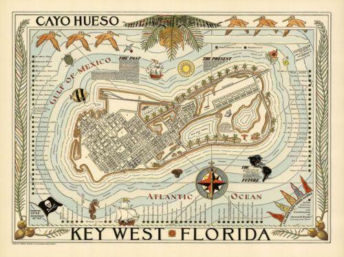 Cayo-Hueso-Key-West-Florida-Map-Vintage-Travel-Poster-Art-Print-Repro