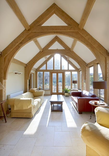 extension, arch brace truss, timber frame, oak frame, green oak, roof truss