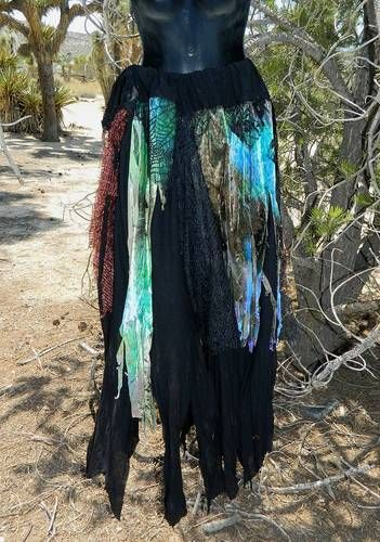 Rag Skirt/Dress RENAISSANCE Gypsy VAMPIRE Zombie PIRATE Fairy Halloween SCA Goth.  This could be a use for all my confounded scraps of fabric that are EVERYWHERE!