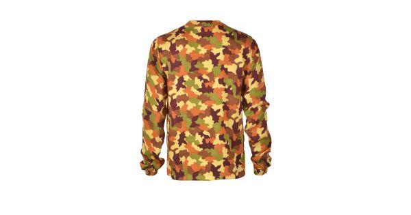 - Блуза выполнена из мягкой на ощупь вискозы - Камуфляжный принт по всей поверхности - V- образная горловина с воротником  - Застежка на пуговицы спереди - Длинные рукава с манжетами на пуговицах - Классический кройБлуза с камуфляжным принтом, Топы/р