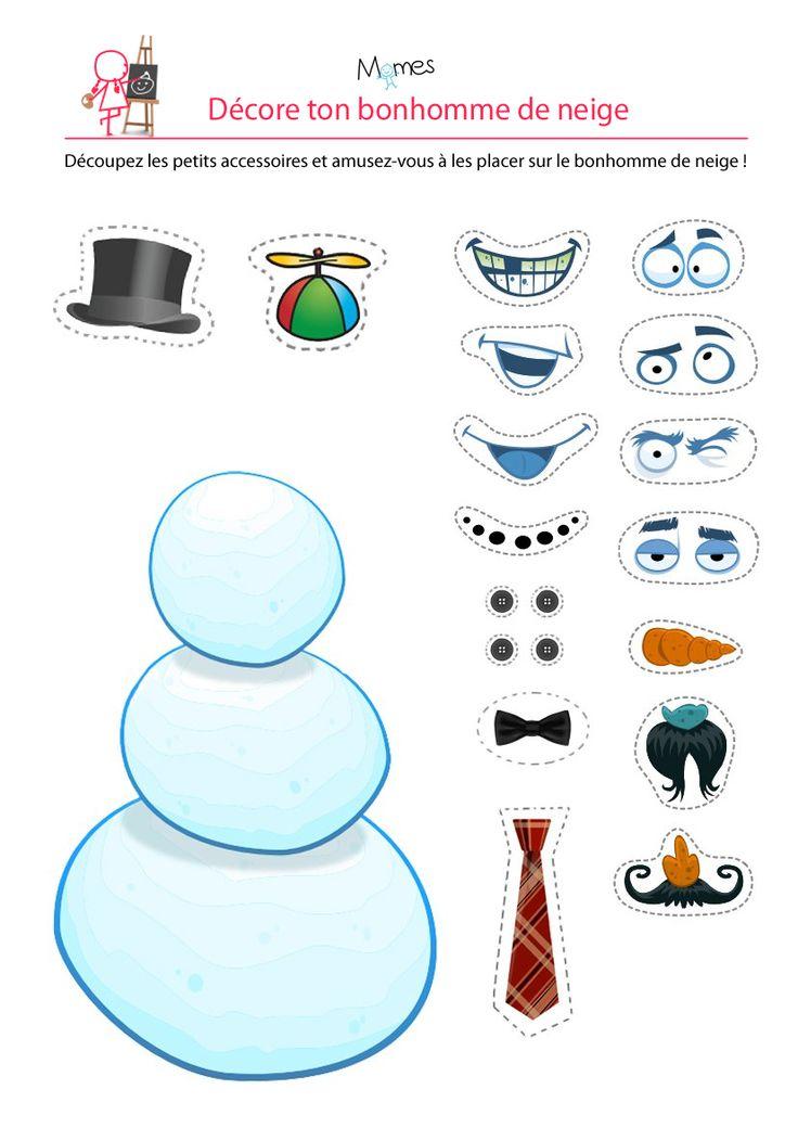 Ce bonhomme de neige manque sérieusement de style... Avec ce mini-jeu de découpage et de décoration, les enfants s'amuseront à personnaliser leur bonhomme de neige. Quand ils seront contents du résultat ils pourront le découper et s'en servir comme décoration de Noël, sur le sapin par exemple !