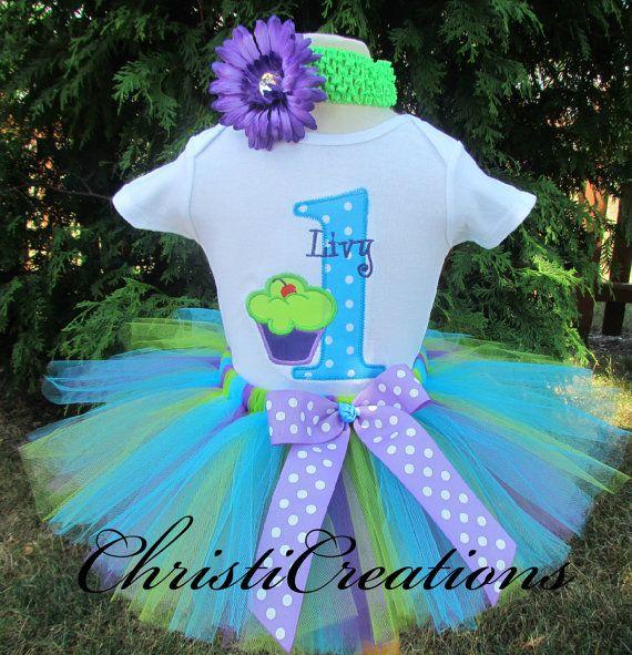 Baby Girl 1st Birthday Tutu Set  Cupcake Tutu by ChristiCreations