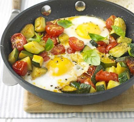 One-pan summer eggs (Might scramble the eggs instead). 196 kcalories