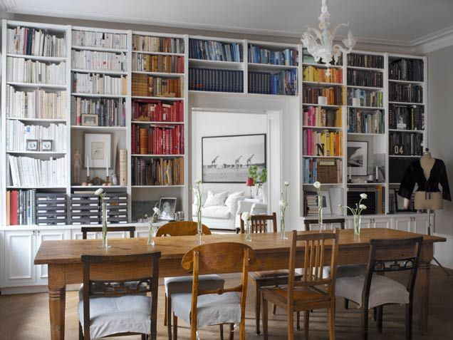I am so drawn to these bookcases that encompass and entire wall...