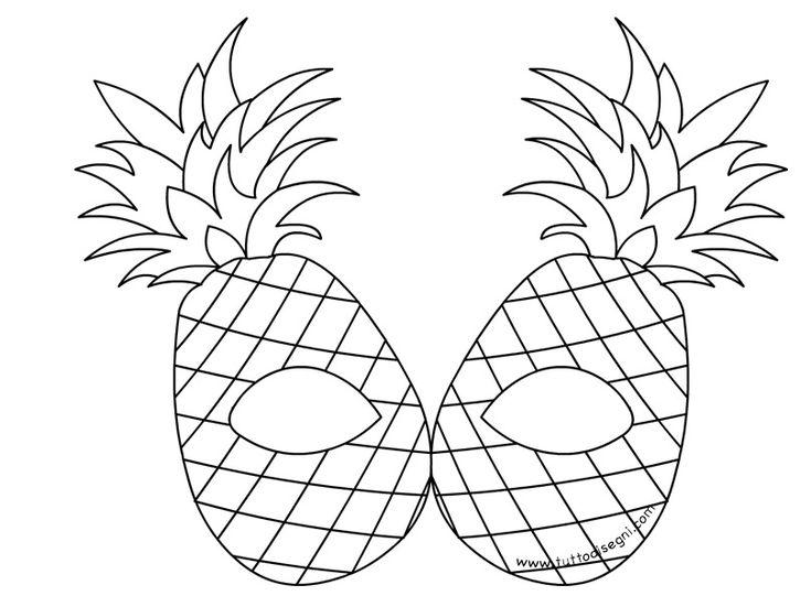 Maschere frutta da colorare – Ananas - TuttoDisegni.com