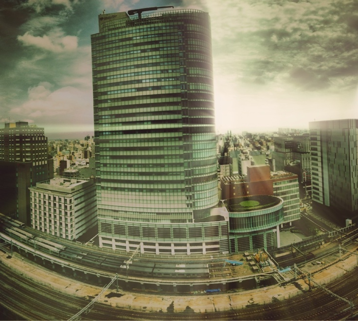 The view of the FujiSoft building from the UDX in Akihabara, Tokyo, Japan.