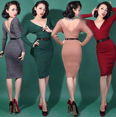 Wiggle Cocktail Dress 1950s Retro Vintage Style Pin Up 4 Colours UK6 UK12 | eBay