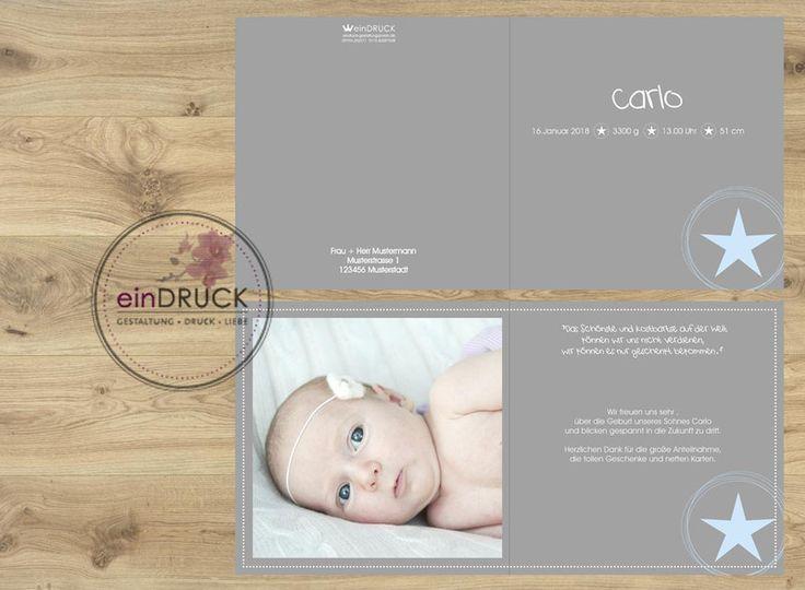 Geburtskarte, Danksagung, Einladung Taufe Von EinDruck Auf DaWanda.com