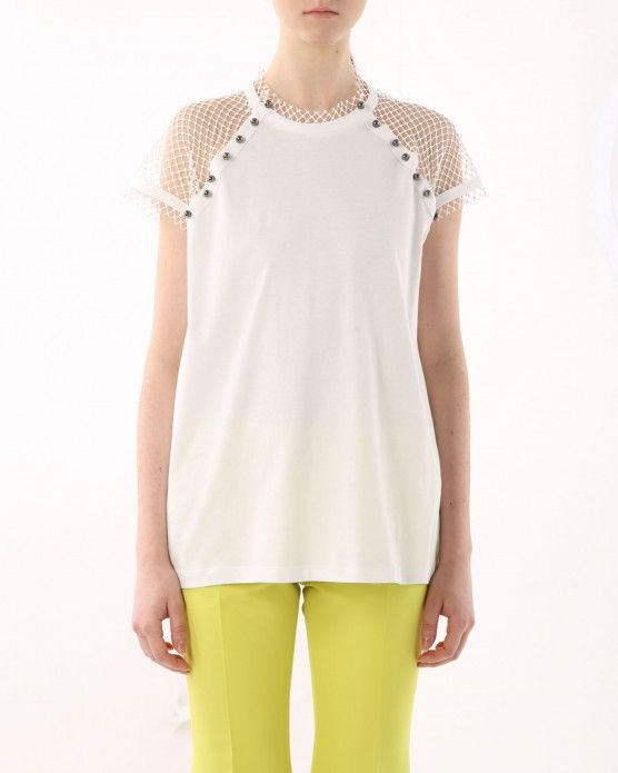 Top with mesh sleeves N°21