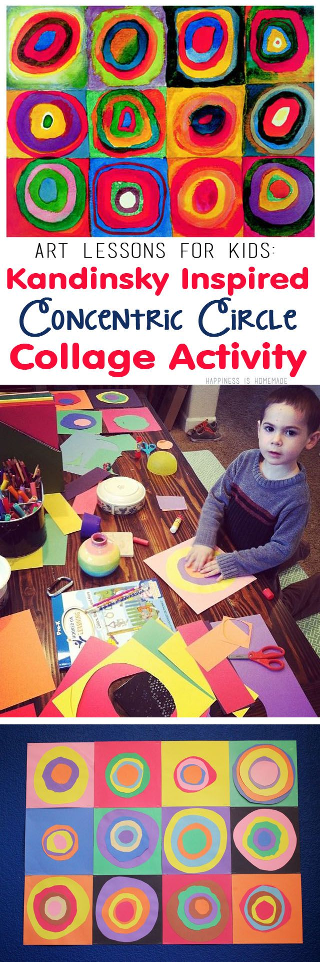 "Kids Art Lesson - Concentric Circles Collage inspired by Wassily Kandinsky's famous ""Farbstudie Quadrate"" (Squares with Concentric Circles/Rings) - great for homeschool art teachers!"