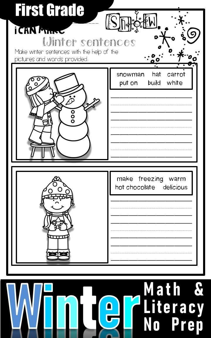 Winter Math and Literacy No Prep Printables First Grade   First grade math [ 1152 x 720 Pixel ]