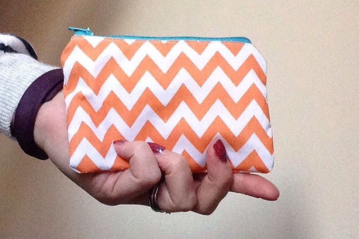 Orange and white chevron purse - zipper pouch - zippered bag - coin purse - gadget bag by LuLusCraftsBoutique on Etsy https://www.etsy.com/uk/listing/488114066/orange-and-white-chevron-purse-zipper