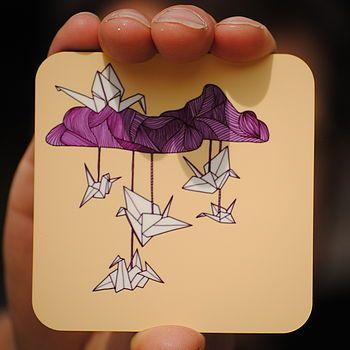 Illustrated Origami Animal Coaster Set