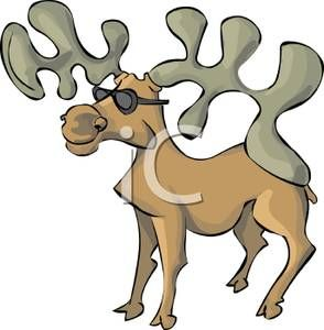 this artist depicts mooses as having antlers twice as big as they actallu are and aso have antlers they are verticle when most image show them as being horizontal this type of moose would set both a confusing and funny atmosphere