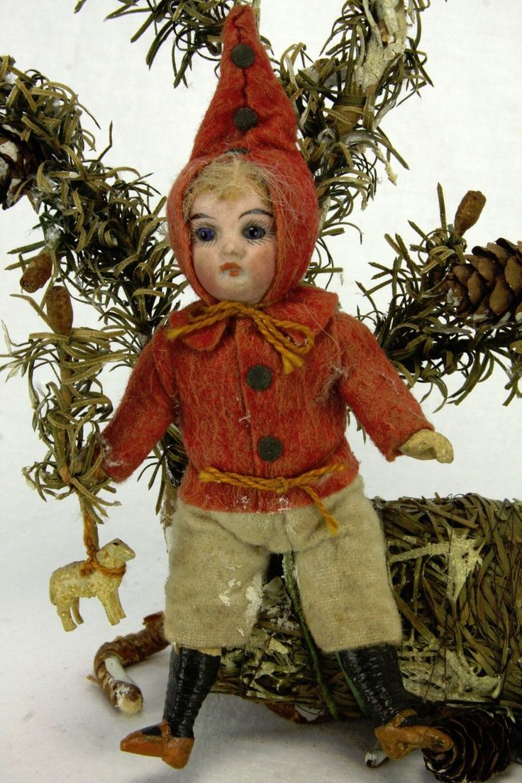 Antique Early German Christmas Candy Container with Bisque Head Doll Ca1900 | eBay