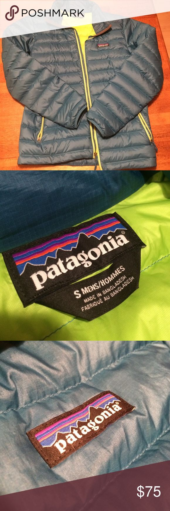 Patagonia 800 Fill Down Jacket This darker version of a powder blue is so warm! I bought it from a worn wear outlet in Portland but got it only because it was such a sweet deal. Very warm! Goose down! Patagonia Jackets & Coats Puffers