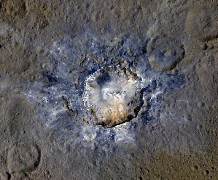 Der Krater Haulani auf Ceres, Wiedergabe in Falschfarben