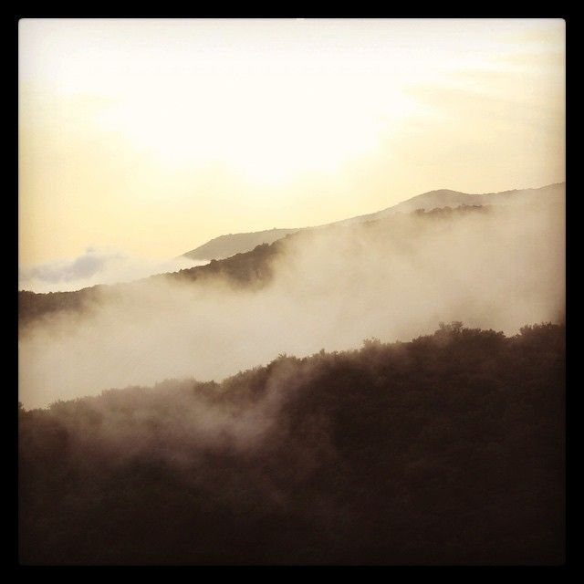Instagram. View from the balcony at sunset as mist rises up from the sea