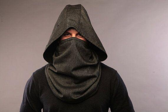 Men infinity scarf / Hood scarf / festival hood / tech clothing / wool neckwarmer / hooded cowl / men winter headwear / sci-fi clothing